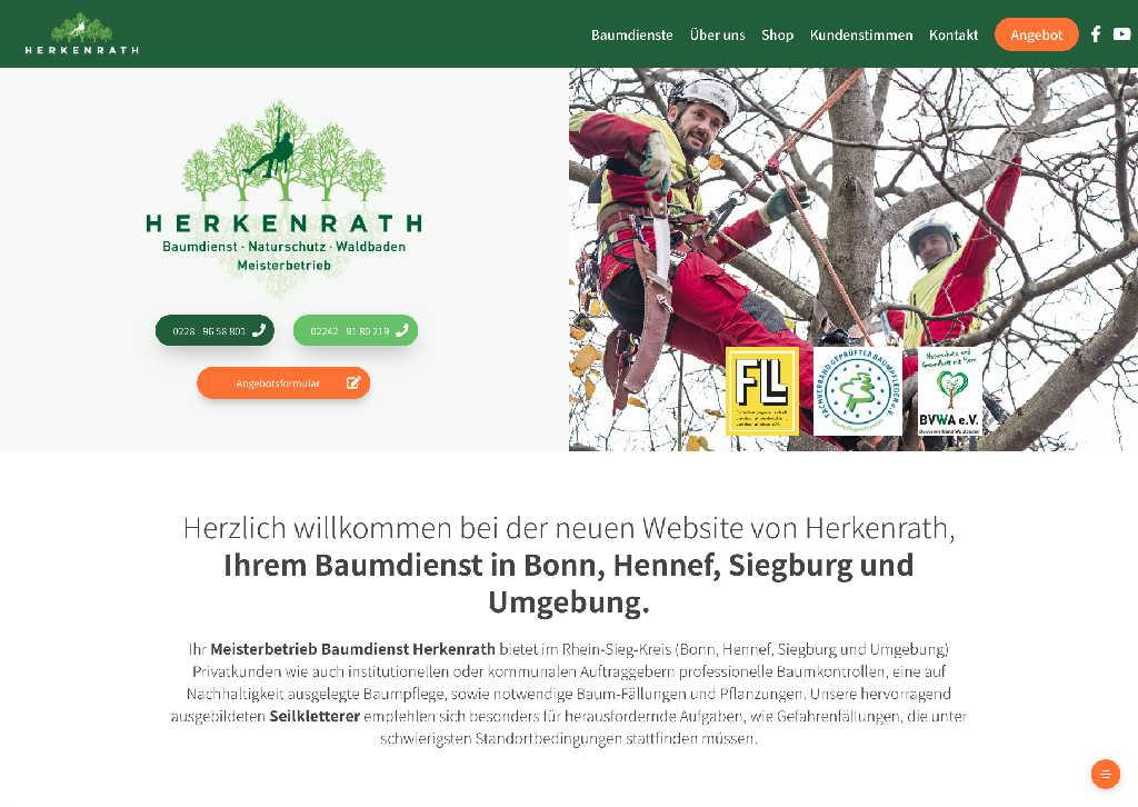 Startseite der Webseite von Baumdienst Herkenrath