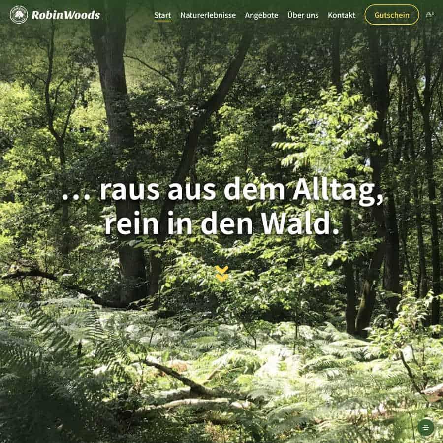Startseite der Internetseite von robinwoods Waldbaden und Naturerlebnisse