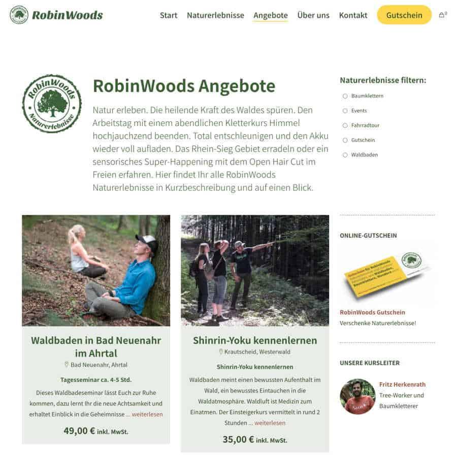 Angebotsseite von RobinWoods Naturerlebnisse.